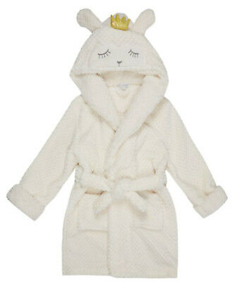 BNWT Debenhams Bluezoo White Sheep Hood Applique Dressing Gown Age 11-12 Yrs