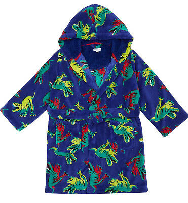 BNWT Bluezoo Kids Boys' Blue Dinosaur Dressing Gown-Debenhams- 2-3 Yrs