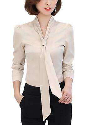 Women's Button Down Bow Tie Vintage Shirt V Neck Long Sleeve Blouse