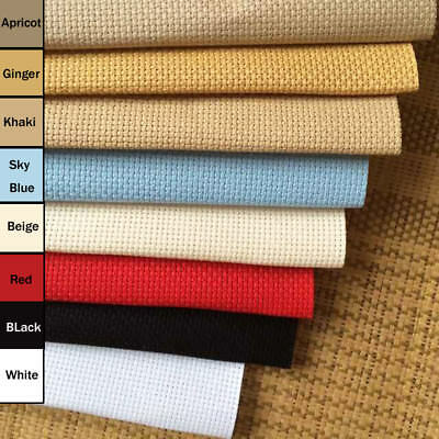 Various Sizes 14 Count Aida Fabric 100% Cotton Cross Stitch Black Red Blue Beige