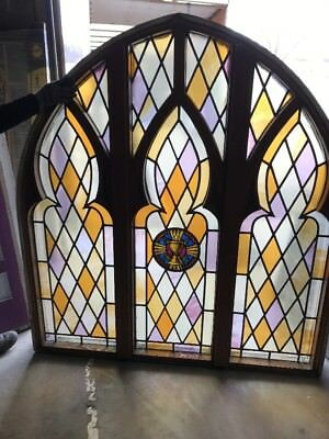 MAR chalice antique Gothic stained glass window arch top 6' x 66