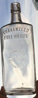 Fred Caron Salmon Falls Dover New Hampshire NH Quart Whiskey Flask Bottle