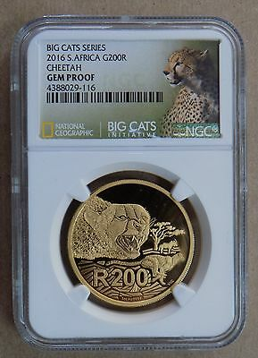 2016 South Africa R200 Rand Cheetah 1 Oz Gold Coin Ngc Gem Proof Big Cats Series