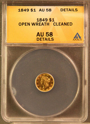 1849 One Dollar Gold Coin Graded AU58 Details