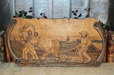 Antique French Relief Plaque Carved Wood Panel Farm Scene Wall Mount