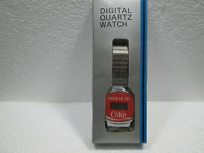 VINTAGE  THIS IS IT! Coca~Cola DIGITAL QUARTZ SILVER MANS WATCH NEVER OUT OF BOX