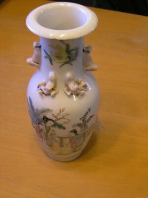 Antique Chinese Hand Painted Porcelain Vase Raised Detail Garden Scene Inscribed