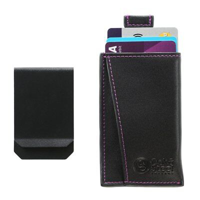 Genuine Leather Compact Money Clip Wallet Card Case Secure RFID Blocking