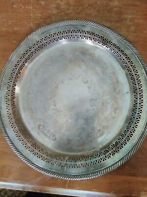 """Vtg Wm Rogers Silver Plated 12 1/4"""" Round Pierced Serving Tray Platter #170"""