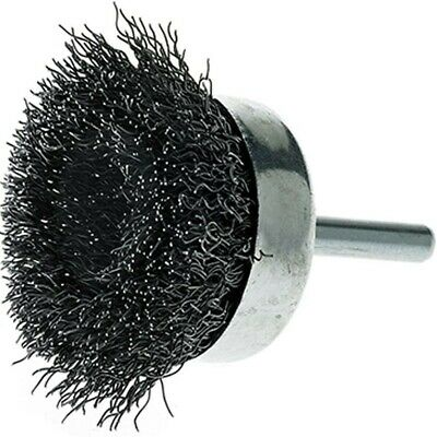 """2"""" Crimped Wire Cup Brush Carbon Steel 1/4"""" Hex Shank for Die Grinder or Drill"""