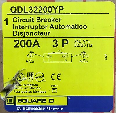 Square D QDL32200YP Circuit Breaker 3 pole 200A 240VAC 50/60HZ - New In Box
