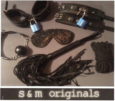 9x Bondage kit gag rope whip hand cuffs ankle cuffs restraints role play fetish