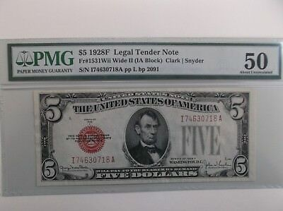 """1928F $5 """"Legal Tender"""" Note. PMG! Scarce Variety!"""