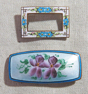 Antique Victorian Edwardian Guilloche Enamel Brooches Pins, Lot of 2