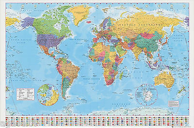 Giant Map Of The World Poster Wall Brand New With Country Flags Gift