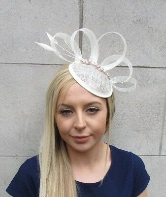 Cream Rose Gold Sinamay Feather Pillbox Hat Fascinator Races Hair Clip 5511