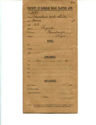 RARE ANTIQUE 1912 HAWAIIAN SUGAR PLANTERS ASSOC LABOR CONTRACT Governor PINKHAM