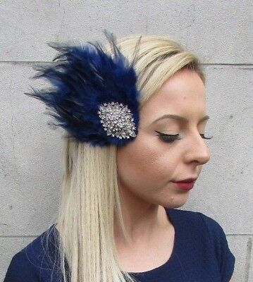 Navy Blue Silver Diamante Feather Fascinator Hair Clip Races Vintage 1920s 5513