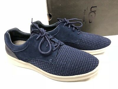 UGG Australia Men HEPNER WOVEN OXFORD Lace Up Athletic Shoes New Navy 1010730