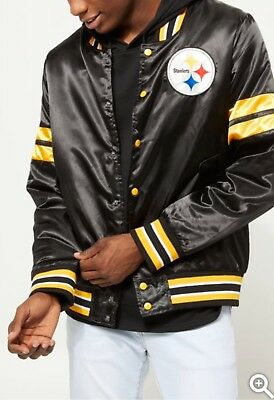 official photos c664a 252ec NEW MEN'S NFL Pittsburgh Steelers Embroidered Bomber Jacket Black NWT Size  XL