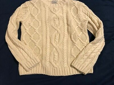 LL Bean Kids Sweater Size S 8 ivory Cable Knit Crew Neck Wool Blend