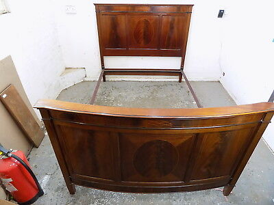 mahogany,curved,bow end,double bed,inlaid,bed frame,bed,antique,edwardian