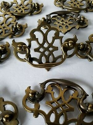 "Large lot of 32 Vintage Brass Drawer Pulls Handles Hardware Salvage 4"" w 3 1/8"