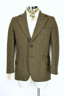 "Dunn & Co Harris Tweed Hacking Jacket Blazer 2 Button 40"" Regular Brown & Blue"