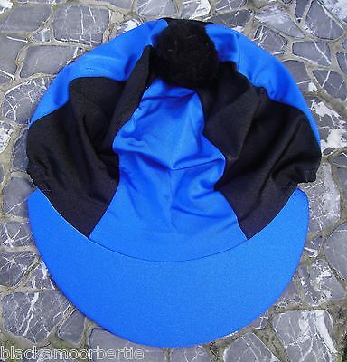 Lycra Riding Hat Silk Skull cap Cover ROYAL & BLACK  With OR w/o Pompom