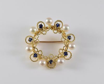 Vintage 14K Yellow Gold Sapphire and Pearl Pin
