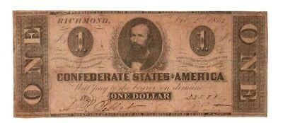 Dec.2 1862 Genuine CSA Confederate $1 Dollar Bill Note T55 401 Printed by Duncan