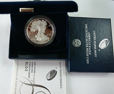 2018W PROOF American Silver Eagle complete with case, box & COA.