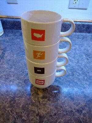 Dunkin Donuts 2007 Stackable Coffee Mugs  *Set of 4* America Runs on Dunkin