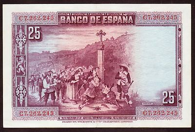 1928 25 Pesetas Spain VF Vintage Paper Money Banknote Currency Rare Antique Old