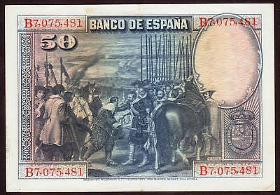 1928 50 Pesetas Spain VF Vintage Paper Money Banknote Currency Rare Antique Old