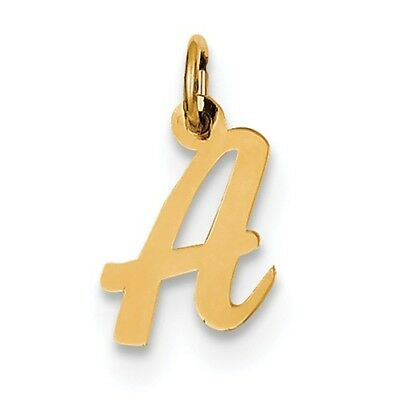 14k Yellow Gold Small Script Initial A Charm Pendant. (0.6INx0.4IN)
