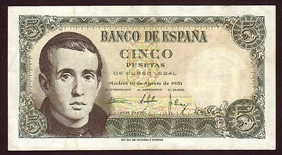 1951 5 Pesetas Spain Vintage Paper Money Banknote Currency Rare Note Currency