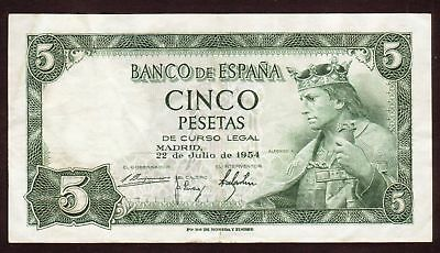 1954 5 Pesetas F Spain Vintage Paper Money Banknote Currency Rare Old Note
