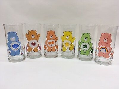 Care Bear Vintage 1983 Complete Set of (6) Pizza Hut Glass