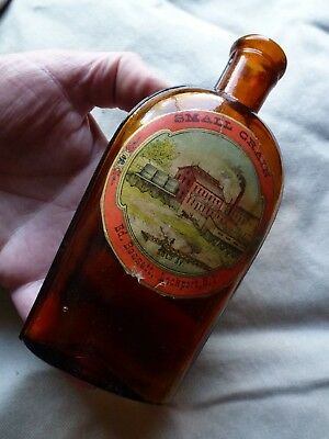 1880 EDWARD BENNETT saloon label half pint whiskey flask bottle LOCKPORT NY