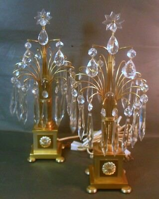 RARE Pr BAGUES MAISON JANSEN Vtg Lamps Gold Bronze Brass Waterfall French GLAM