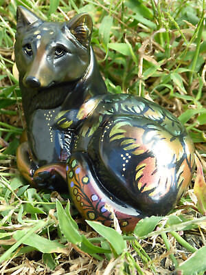Windstone Editions Grab Bag Rainbow Feather Pebble Wolf Statue M. Pena OOAK