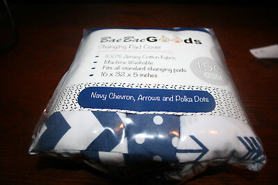 BaeBae Goods Jersey Knit 3 Changing Pad Covers NAVY Chevron/Arrows/Polka Dots
