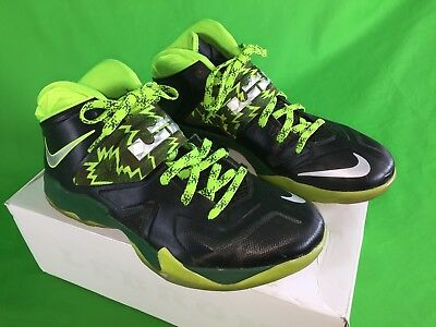 Nike Air Zoom Soldier VII Lebron James Mens Size 12 Black Neon Green  Basketball 9340d3e89c