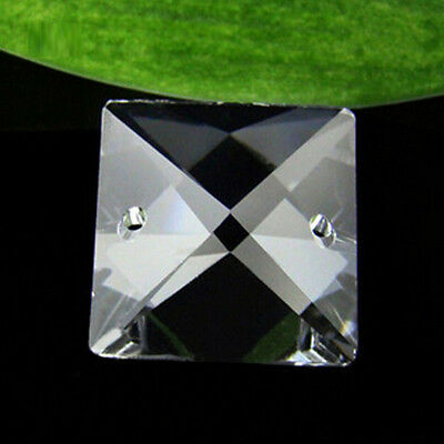 150pcs 14mm Clear Glass Square Crystal Beads Prisms Chandelier Lamp Chain Parts