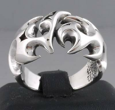 Huge Artisan Tribal Tattoo Blades Special 925 Sterling Solid Silver Mens Ring
