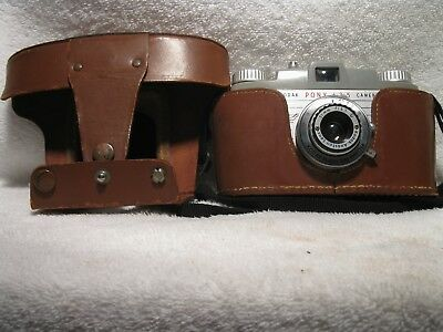 Vintage Eastman Kodak Pony 135 Film Camera With The Original Field Case, *nice*