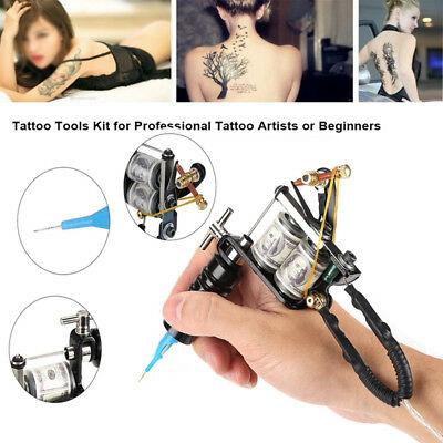 Complete Tattoo Kit needles One Machine Gun Power Supply 4 Color Inks SG