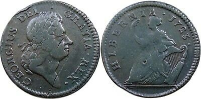 1723 Hibernia Halfpenny, Lovely VF, nice surfaces, strong legends and date