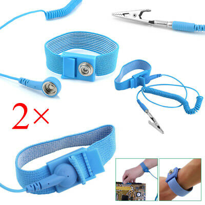 2Pcs Anti Static ESD Wrist Strap Discharge Band Grounding Prevent Shock NEW 2018